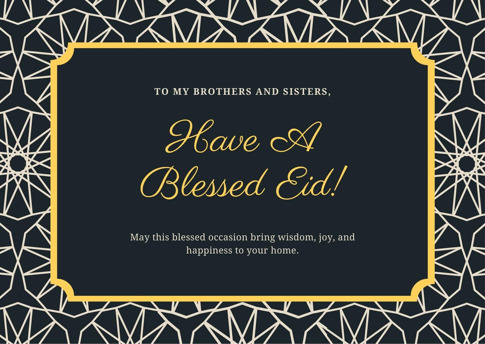 Blue & Gold Floral Eid Al-Fitr Greeting Card