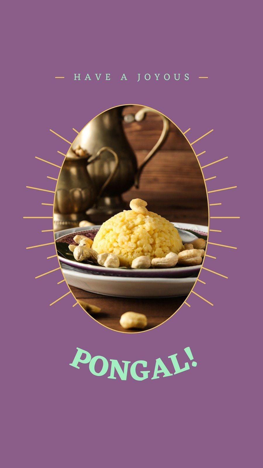 Violet and Yellow Geometric Pongal Festival Greeting Tik Tok