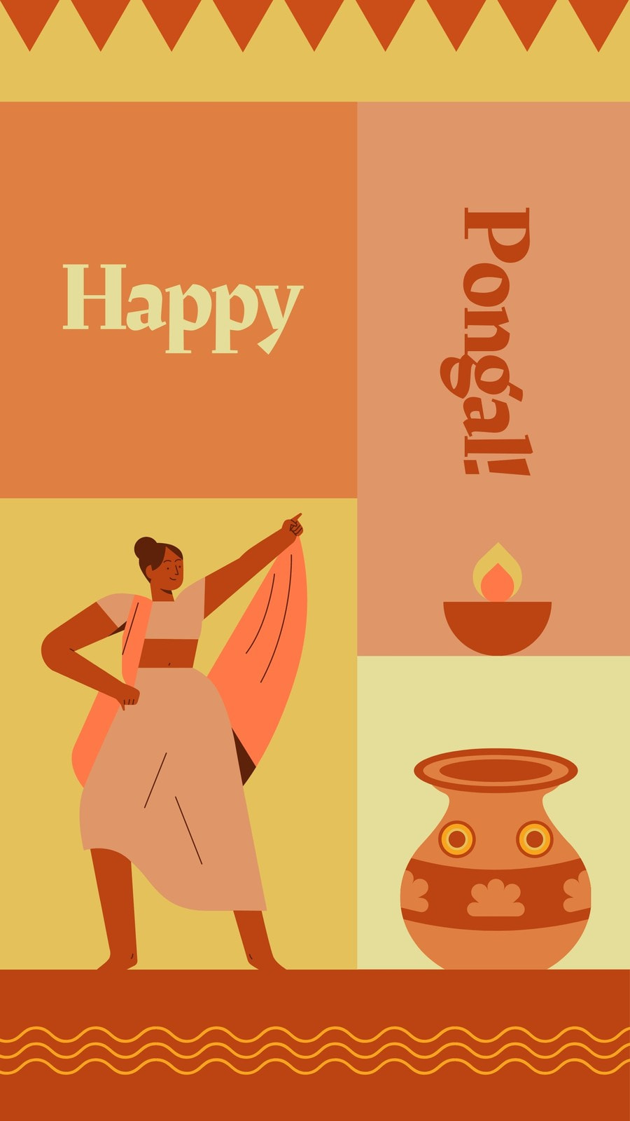 Colorful Geometric Pongal Festival Greeting Instagram Story