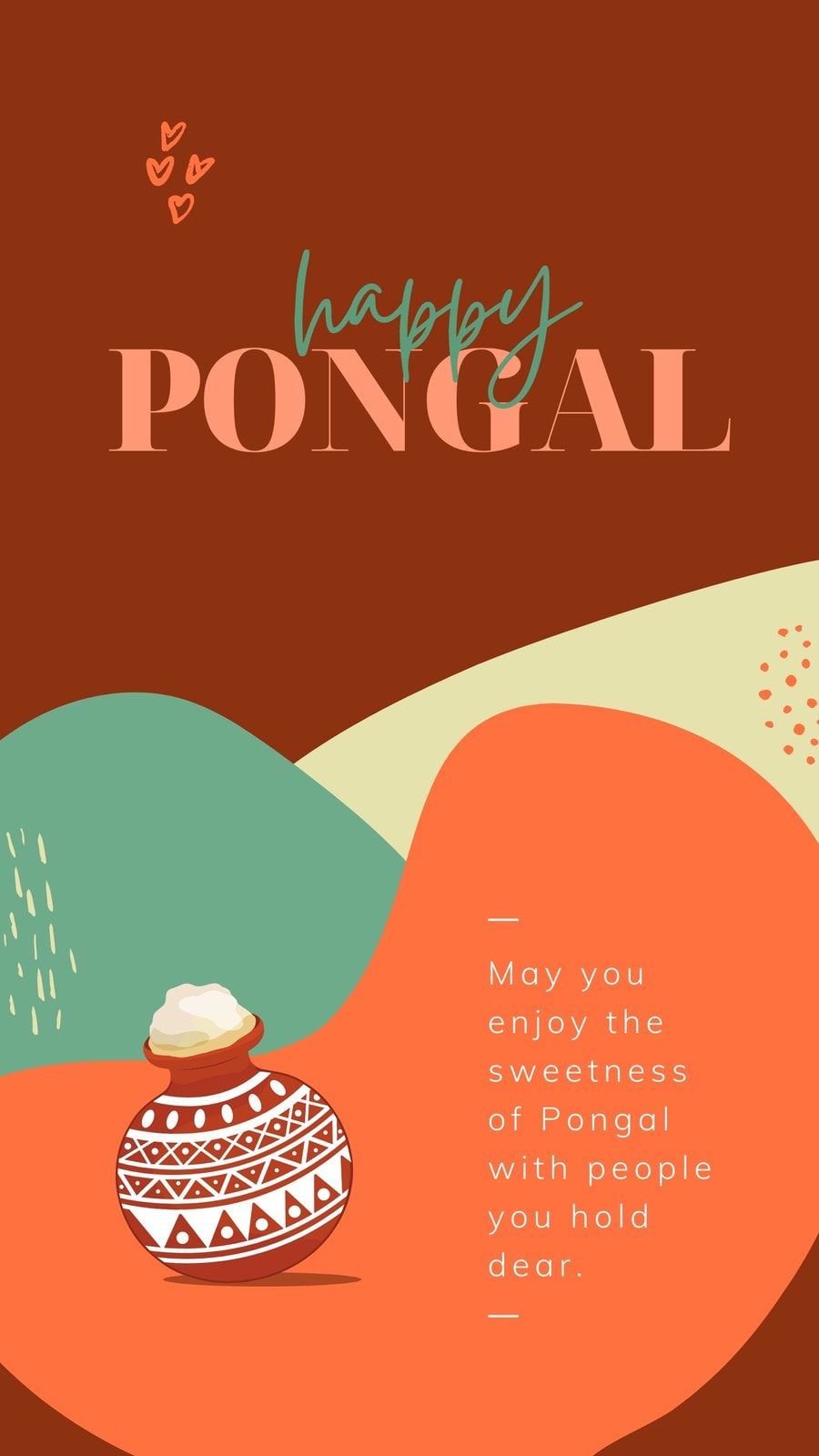 Maroon Orange and Green Freestyle Art Pongal Festival Greeting Whatsapp