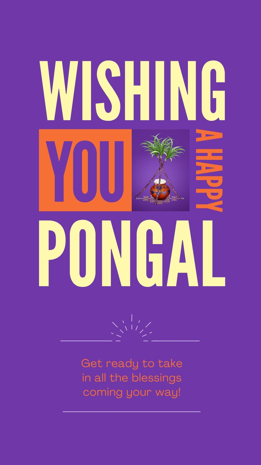 Purple Orange and Yellow Maximalist Pongal Festival Greeting Whatsapp