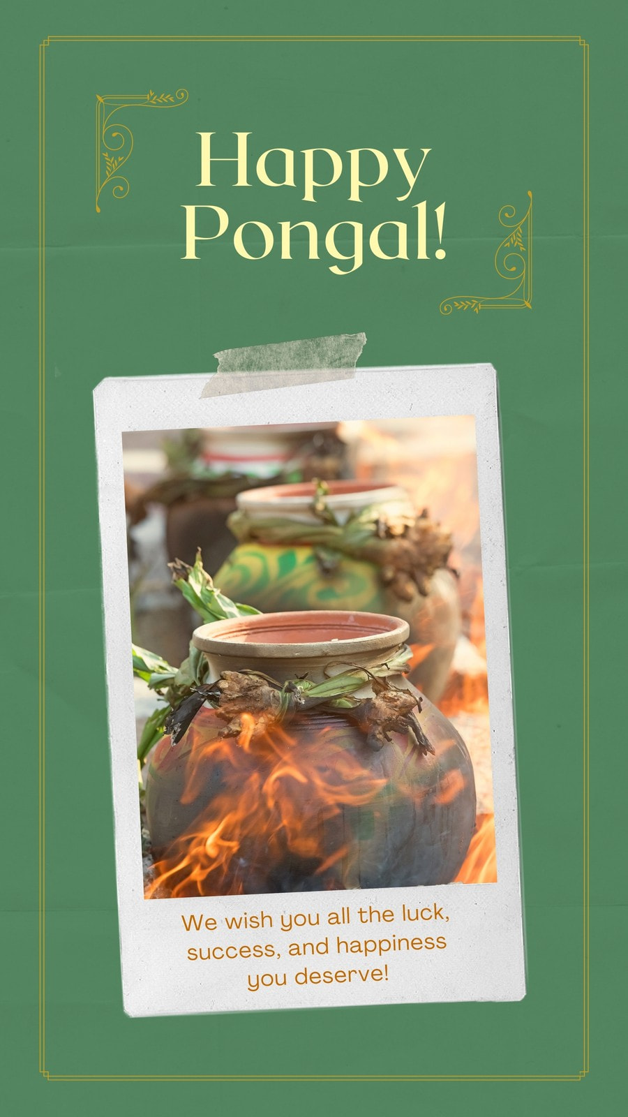 Green and Gold Polaroid Pongal Festival Greeting Whatsapp