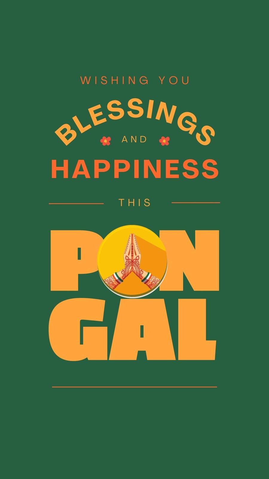 Green and Orange Maximalist Pongal Festival Greeting Tik Tok