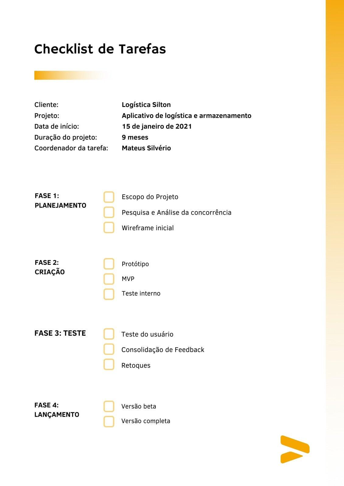 Amarelo Profissional Gradiente Desenvolvimento de Aplicativos Checklist