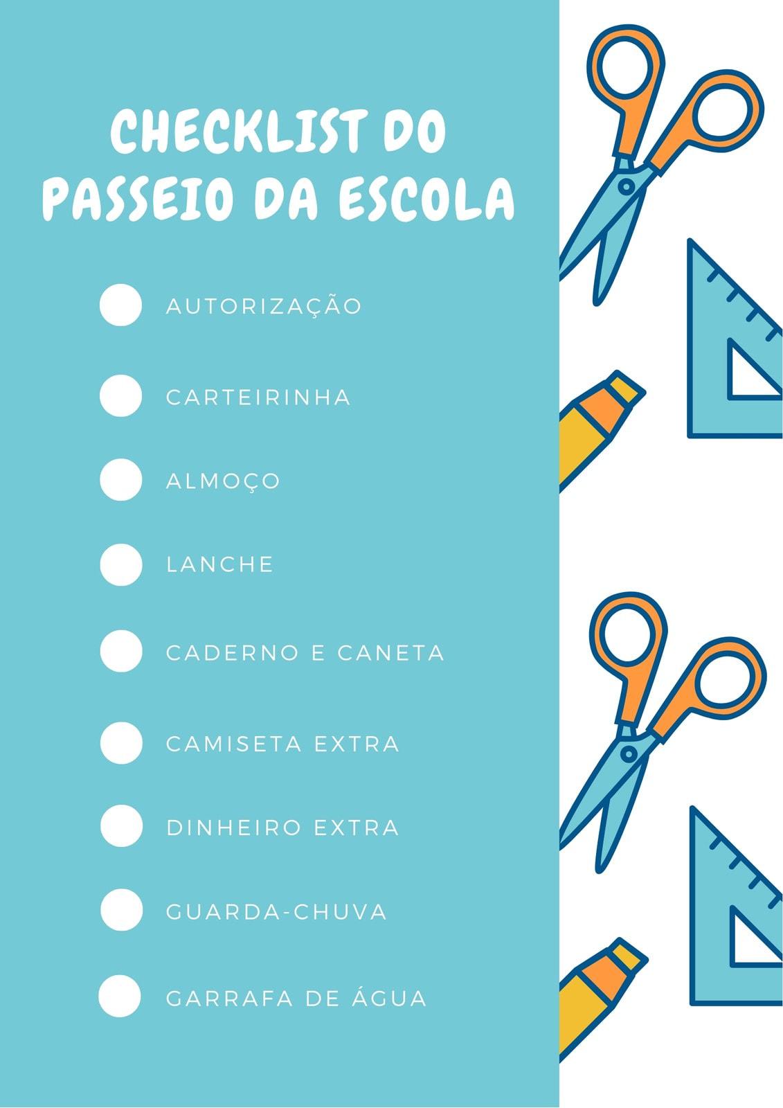 Azul e Laranja Escola Checklist