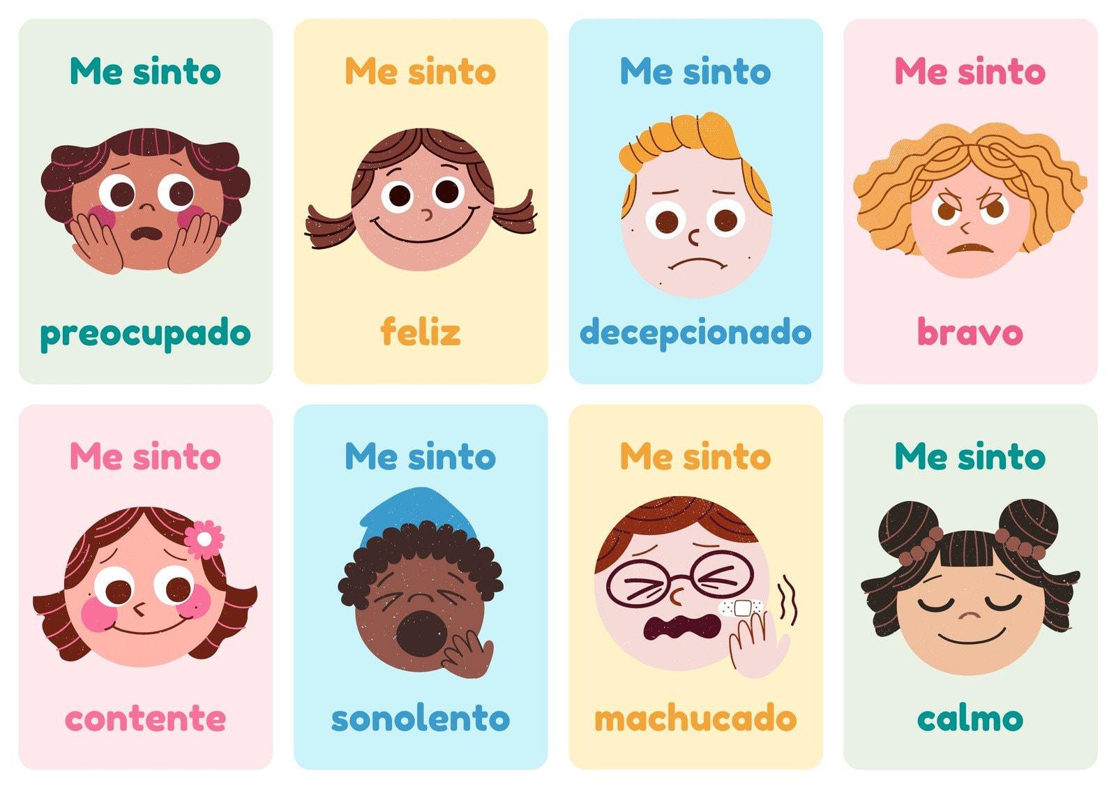 Emoções Simples Ilustração Folhas de Flashcard