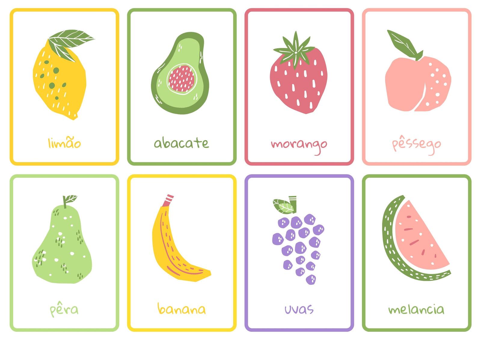 Frutas Colorido Desenhado à Mão Folhas de Flashcards