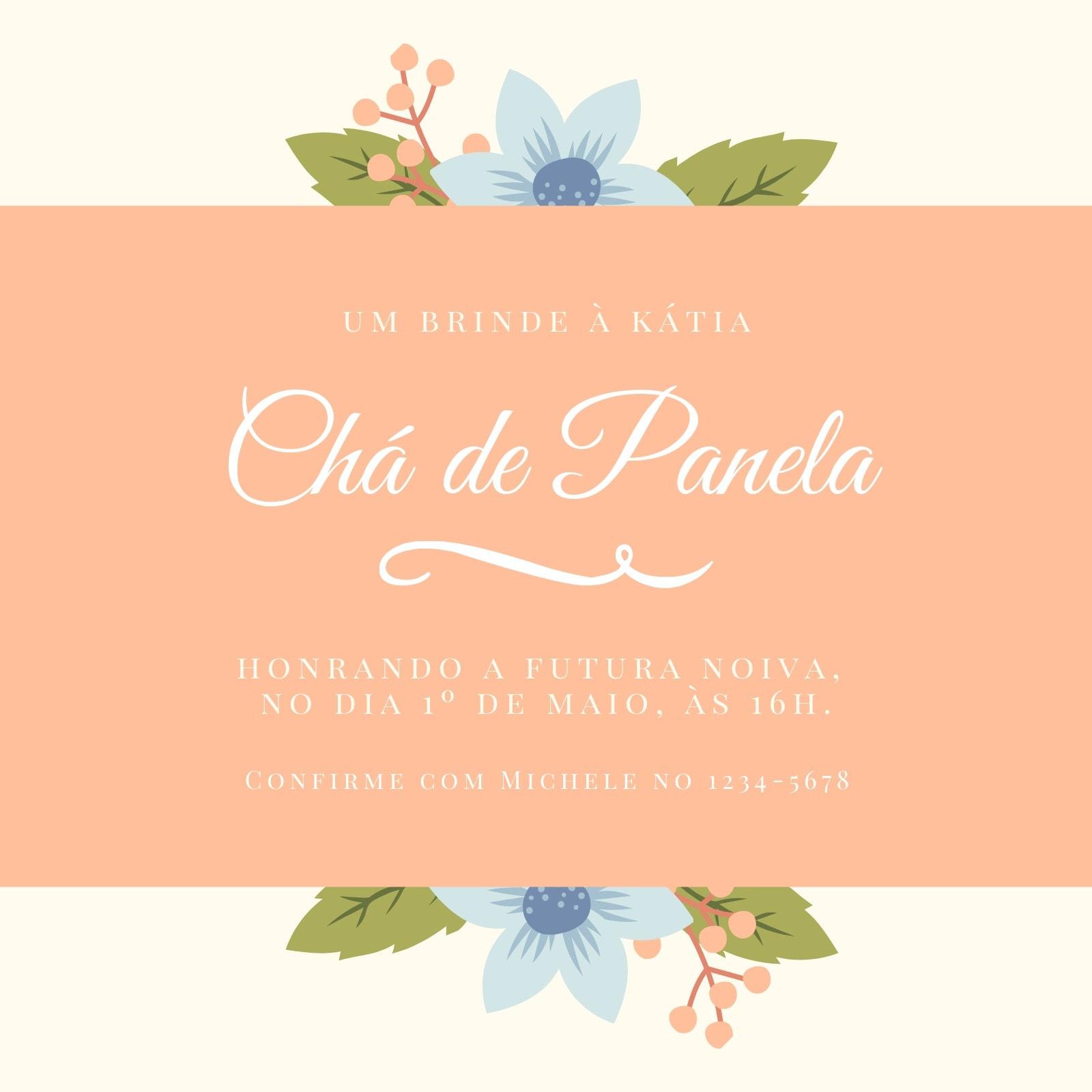 Pêssego Bege Floral Chá de Panela Convite