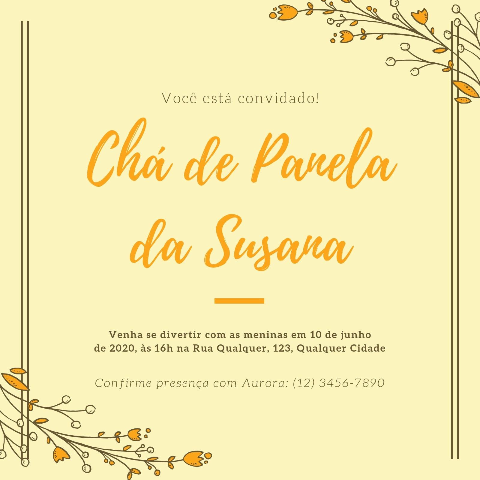 Creme e Amarelo Borda Floral Chá de Panela Convite