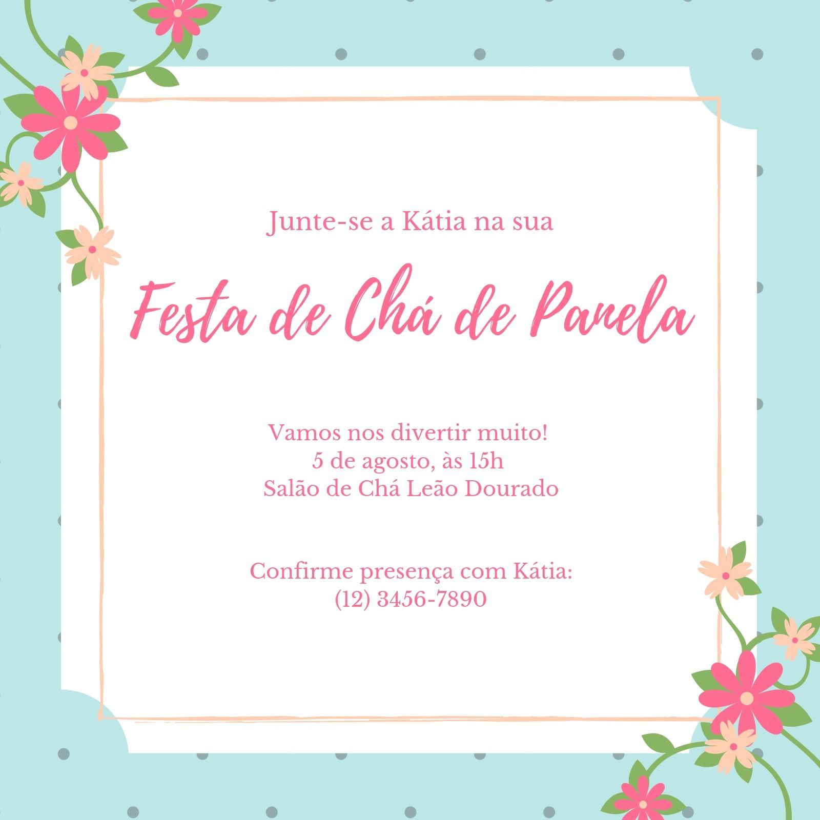 Rosa Azul Branco Floral Festa de Chá de Panela Convite