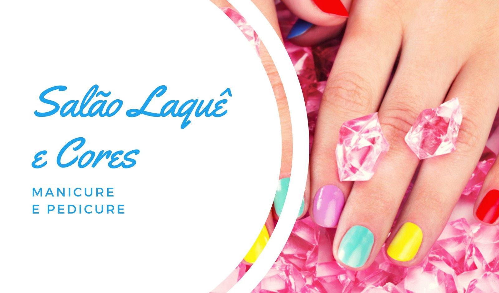 Simples Azul Cartão de Visita de Manicure