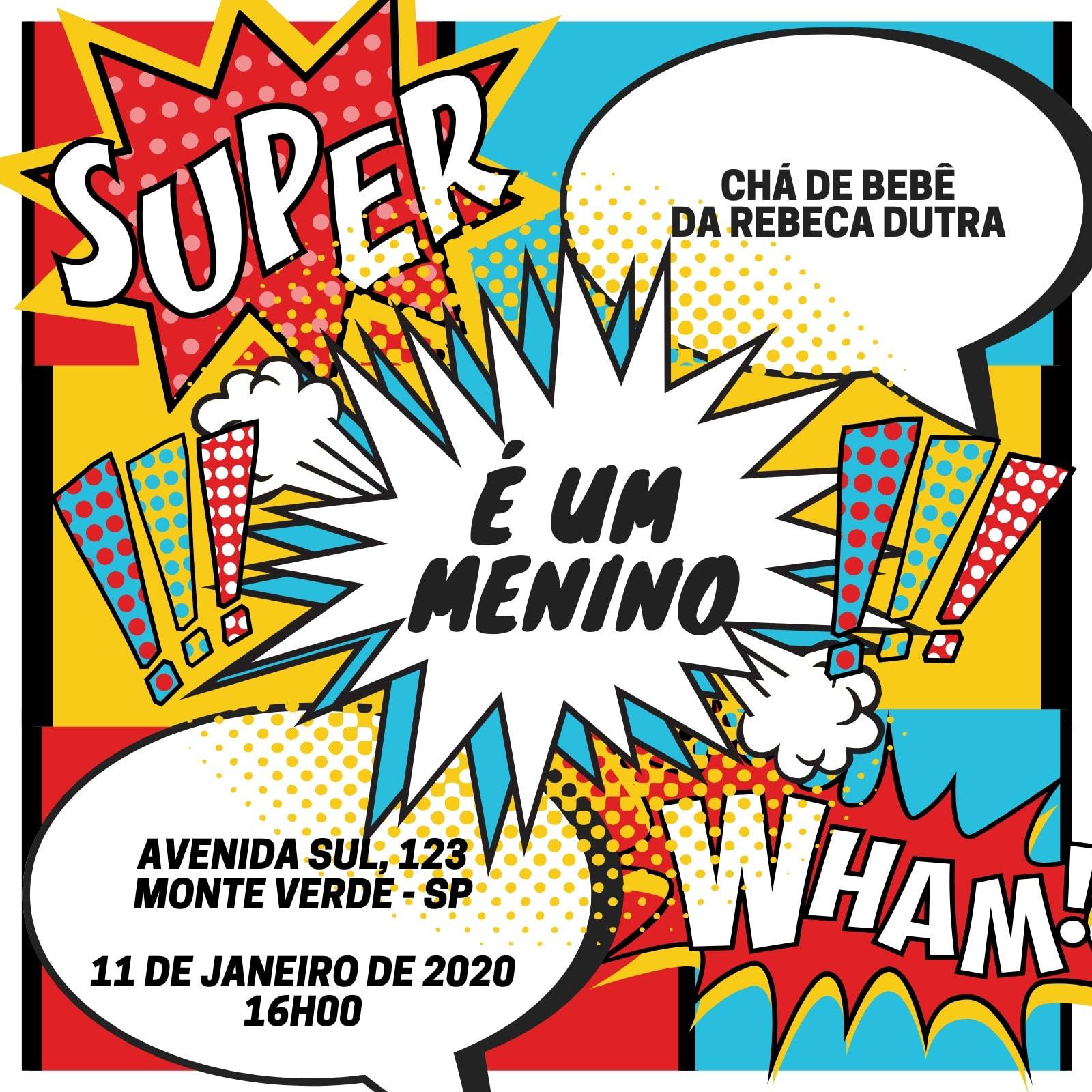 Super-Herói Chá de Bebê de para Menino Convite