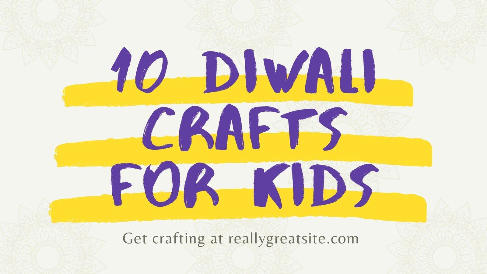 Purple and Yellow Minimal Playful Diwali Blog Banner