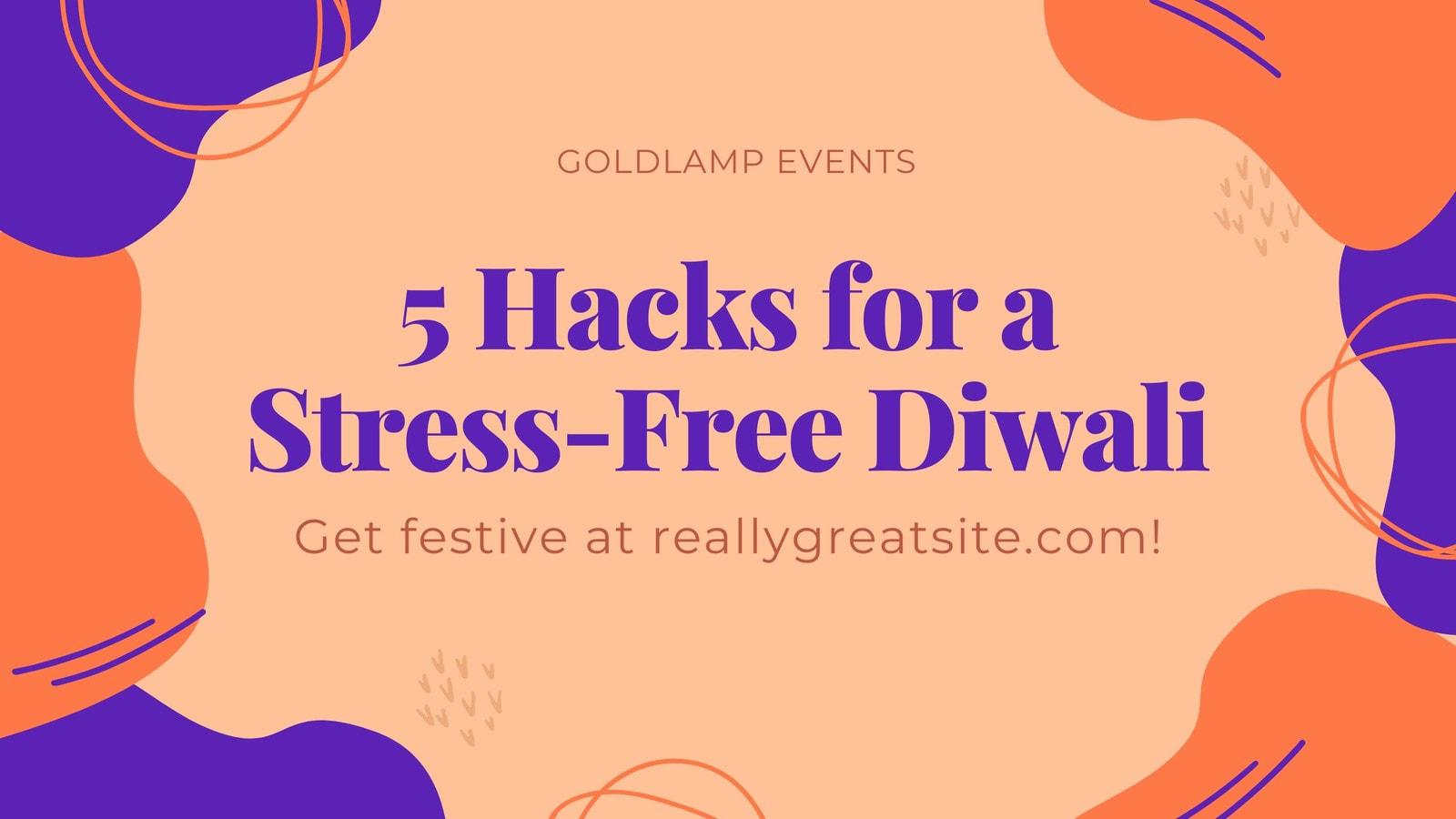 Blue and Orange Scribbles Diwali Blog Banner