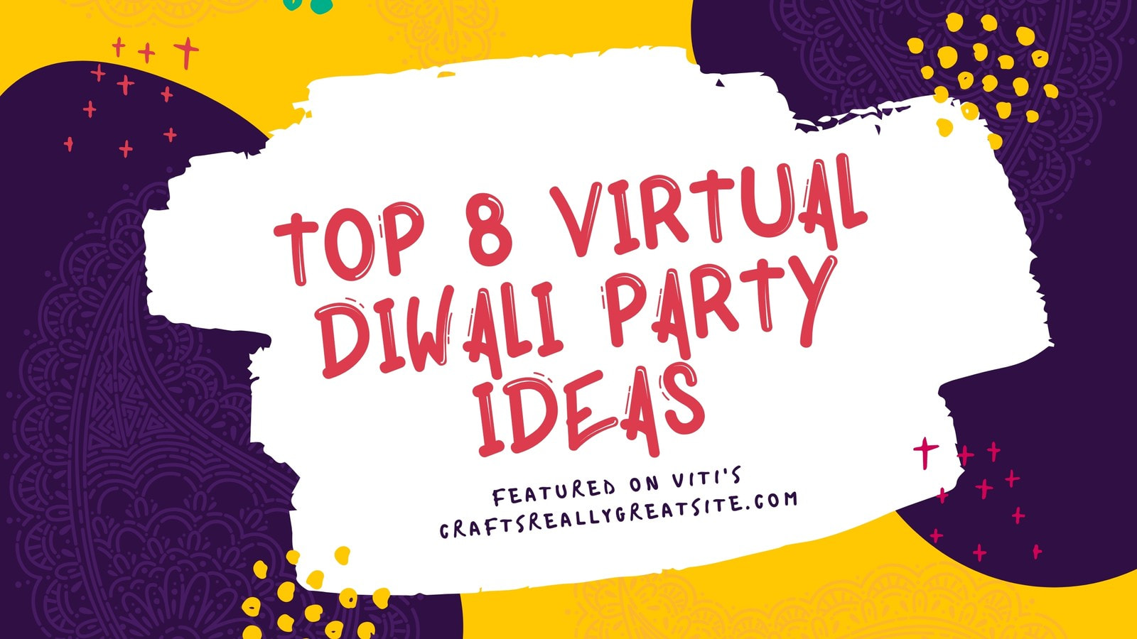 Yellow Purple and Red Dynamic Diwali Festival Blog Banner