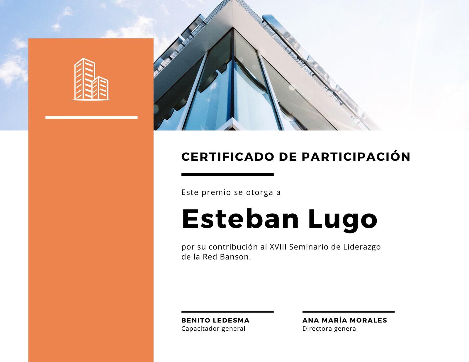 Naranja y Blanco Participación Corporativa Certificado