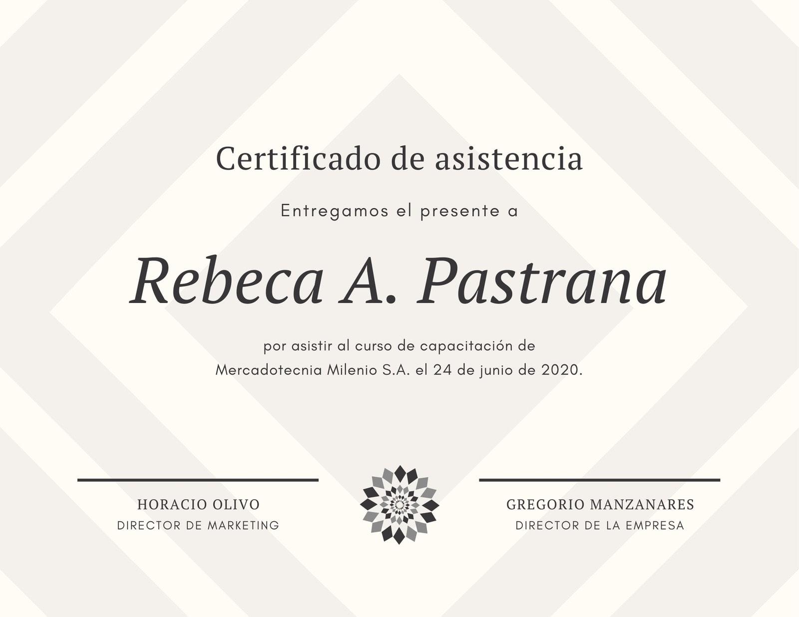 Rombo Patrón Asistencia Certificado