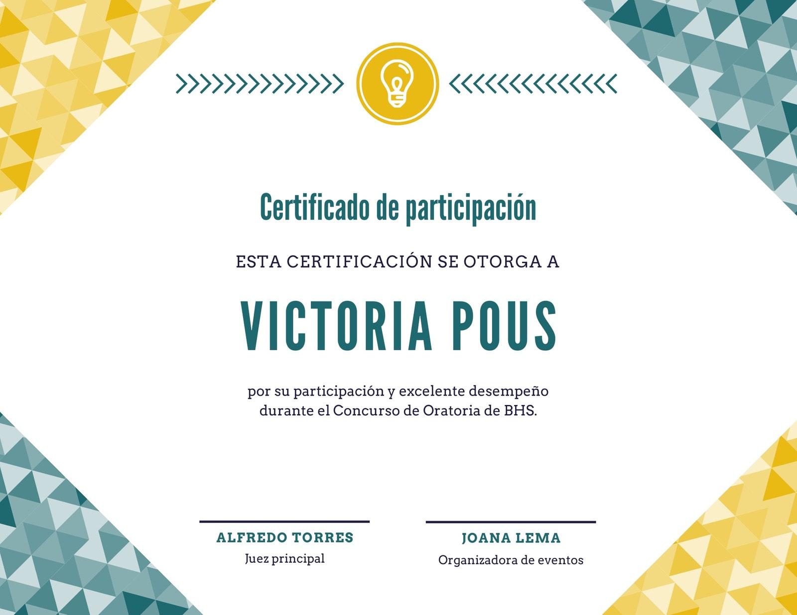 Dorado y Azul Geométrico Participación Certificado