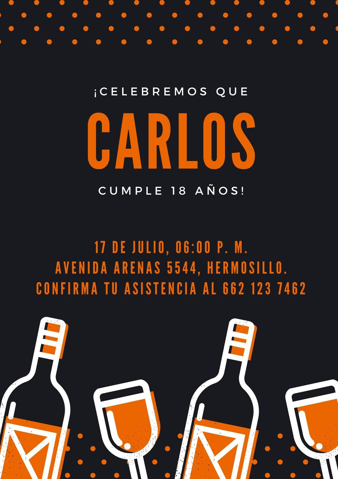 Negro Vino Copa Cumpleaños 18 Póster