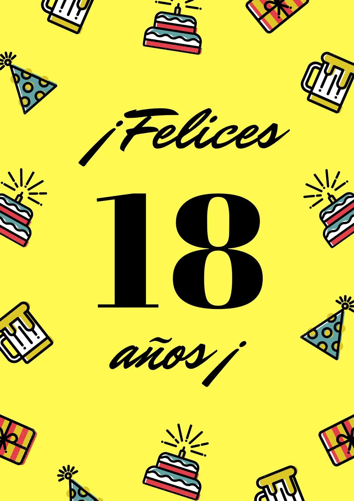 Amarillo Fiesta Elementos 21.° Cumpleaños Póster