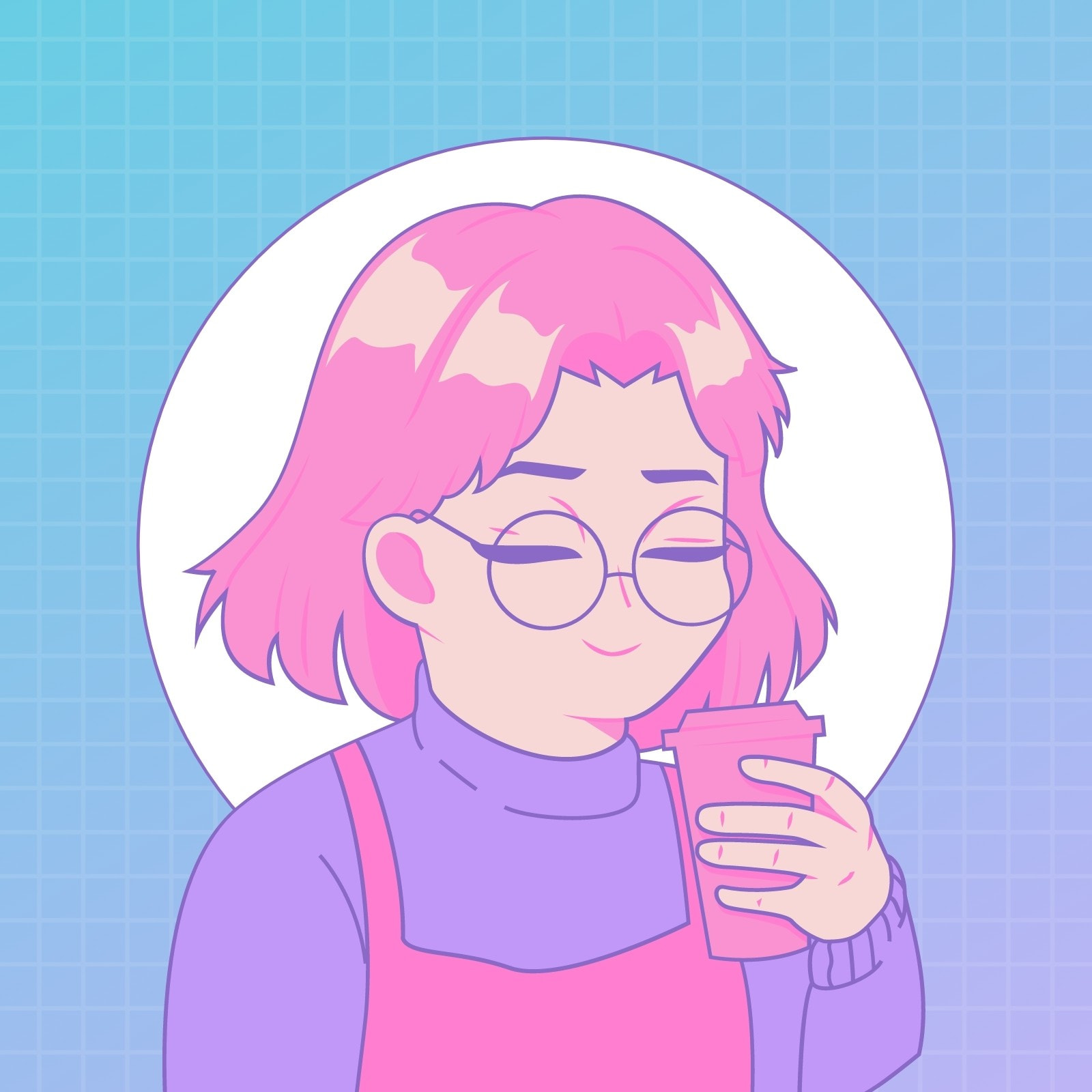 Purple Blue and Pink Gamer Girl Twitch Profile Picture