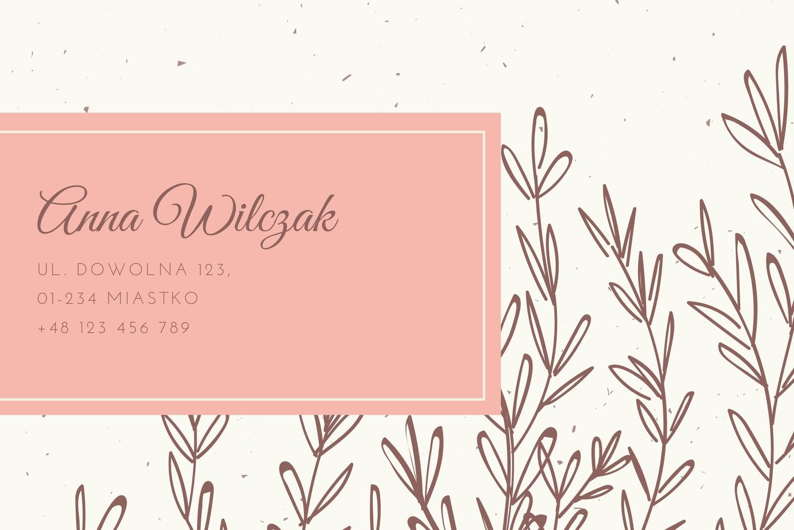 Różowa Brązowa Vintage Ilustrowana Liście Etykieta Adresowa