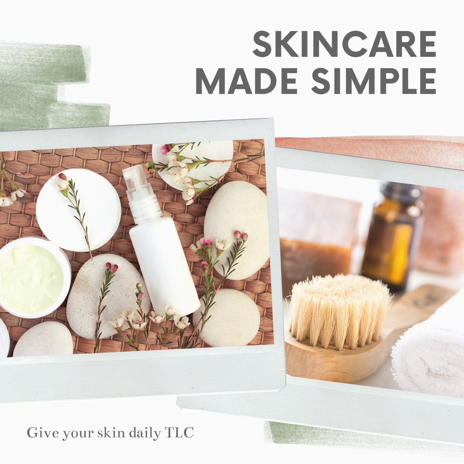 Grey and Green Freestyle Art Beauty Skincare Video Collage