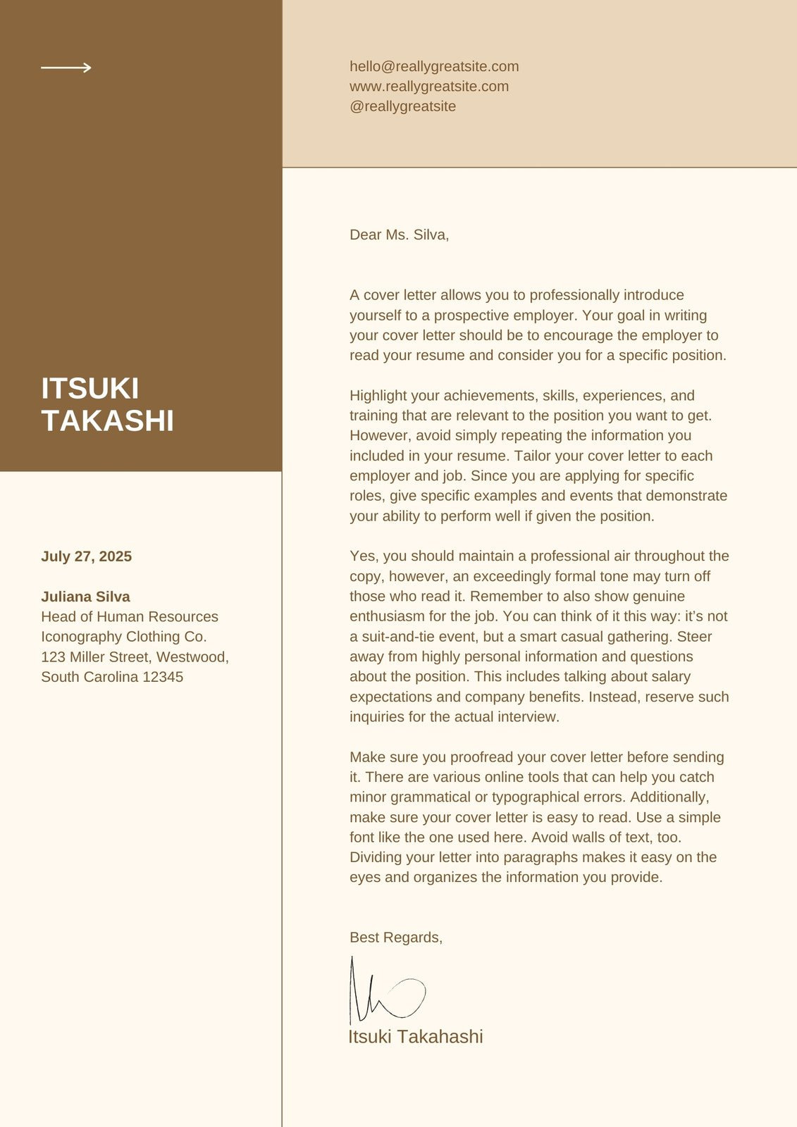 Beige and Brown Color Blocks Entry Level Fresher Cover Letter