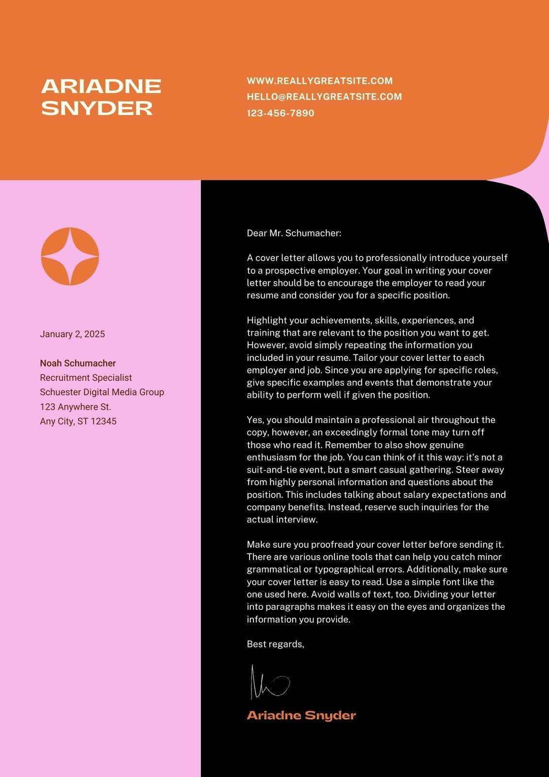 Orange and Pink Bold Funky Student Internship Cover Letter