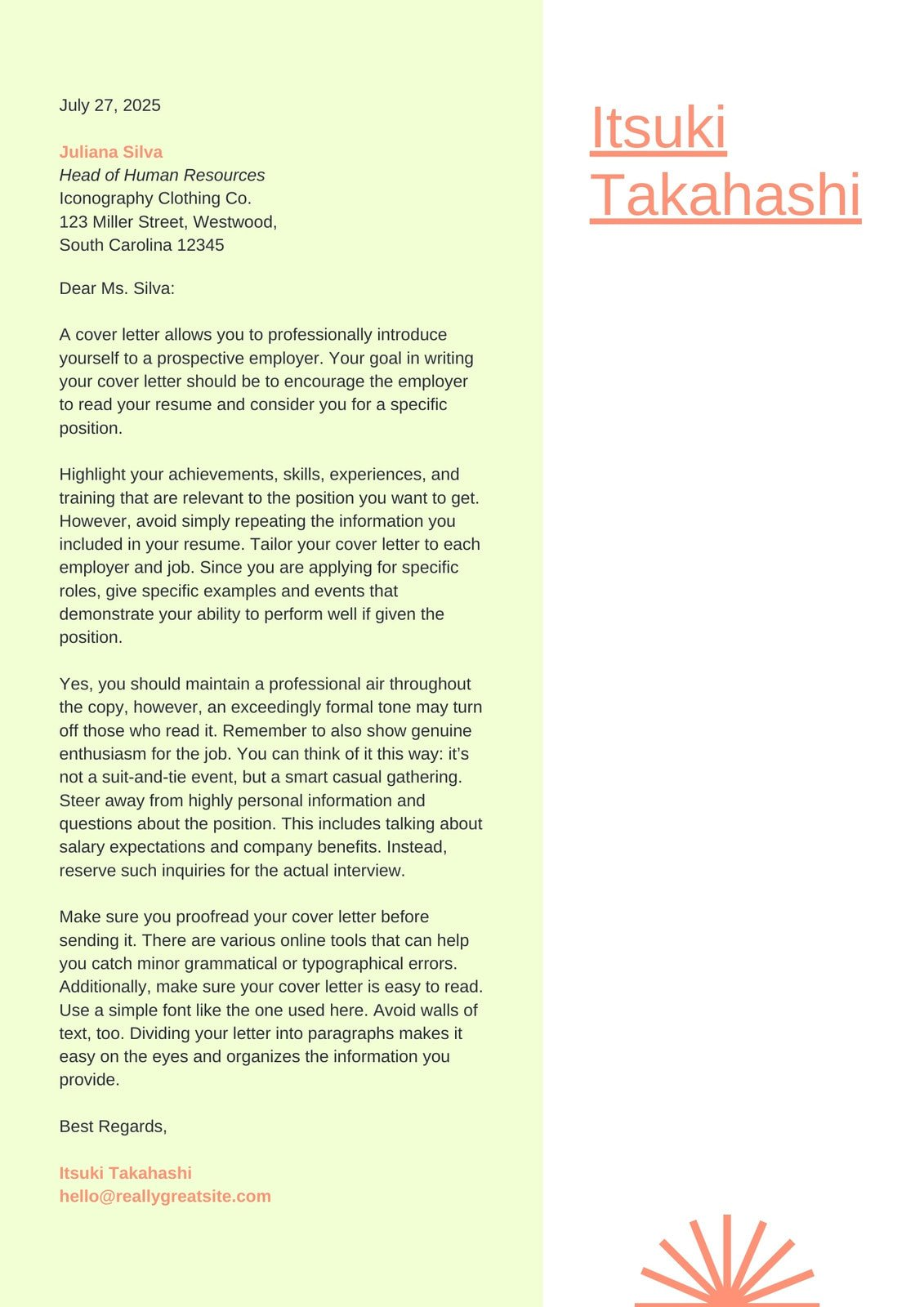 Green and Orange Fresh Clean Entry Level Fresher Cover Letter