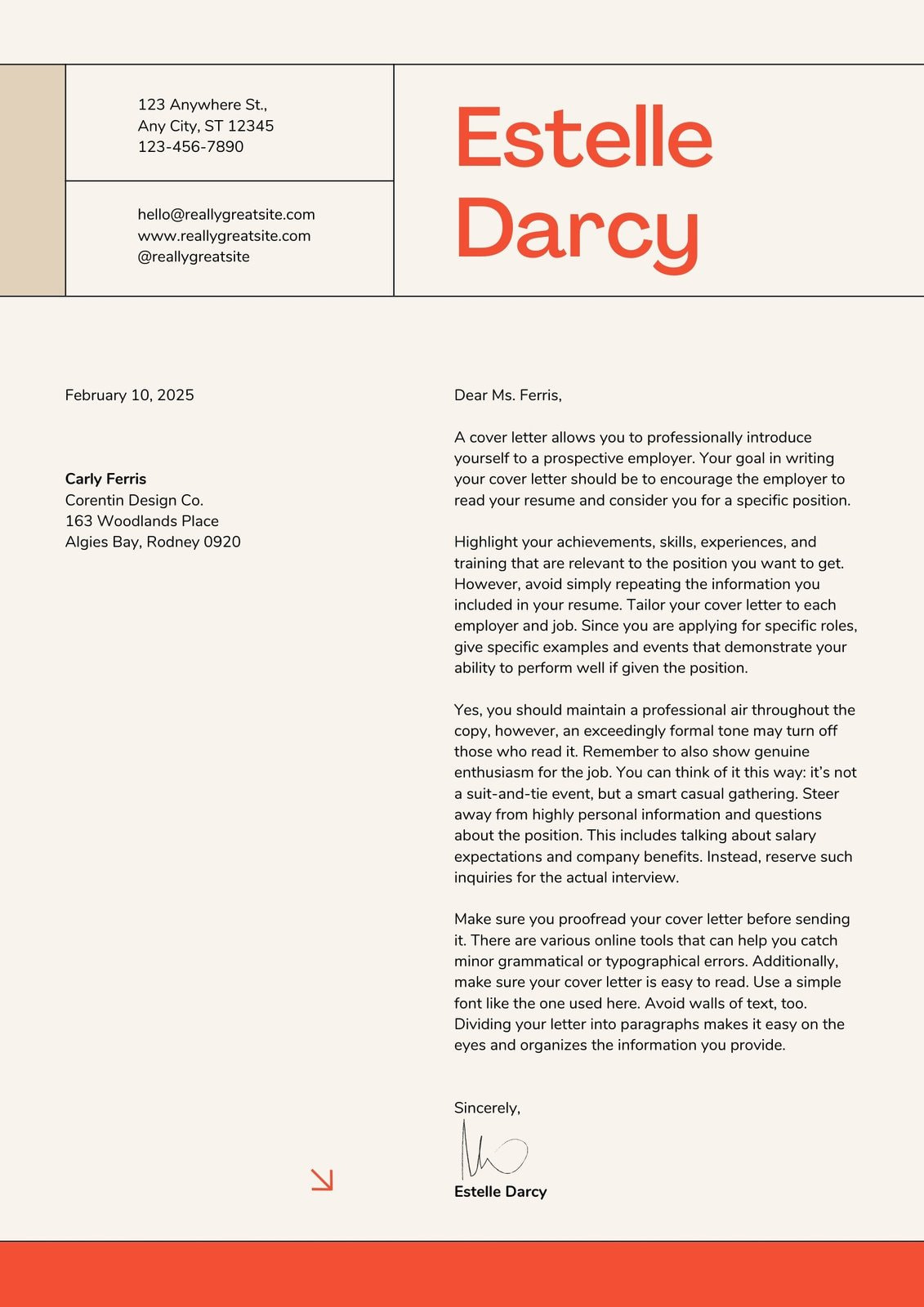 Beige and Red Playful Swiss Student Internship Cover Letter