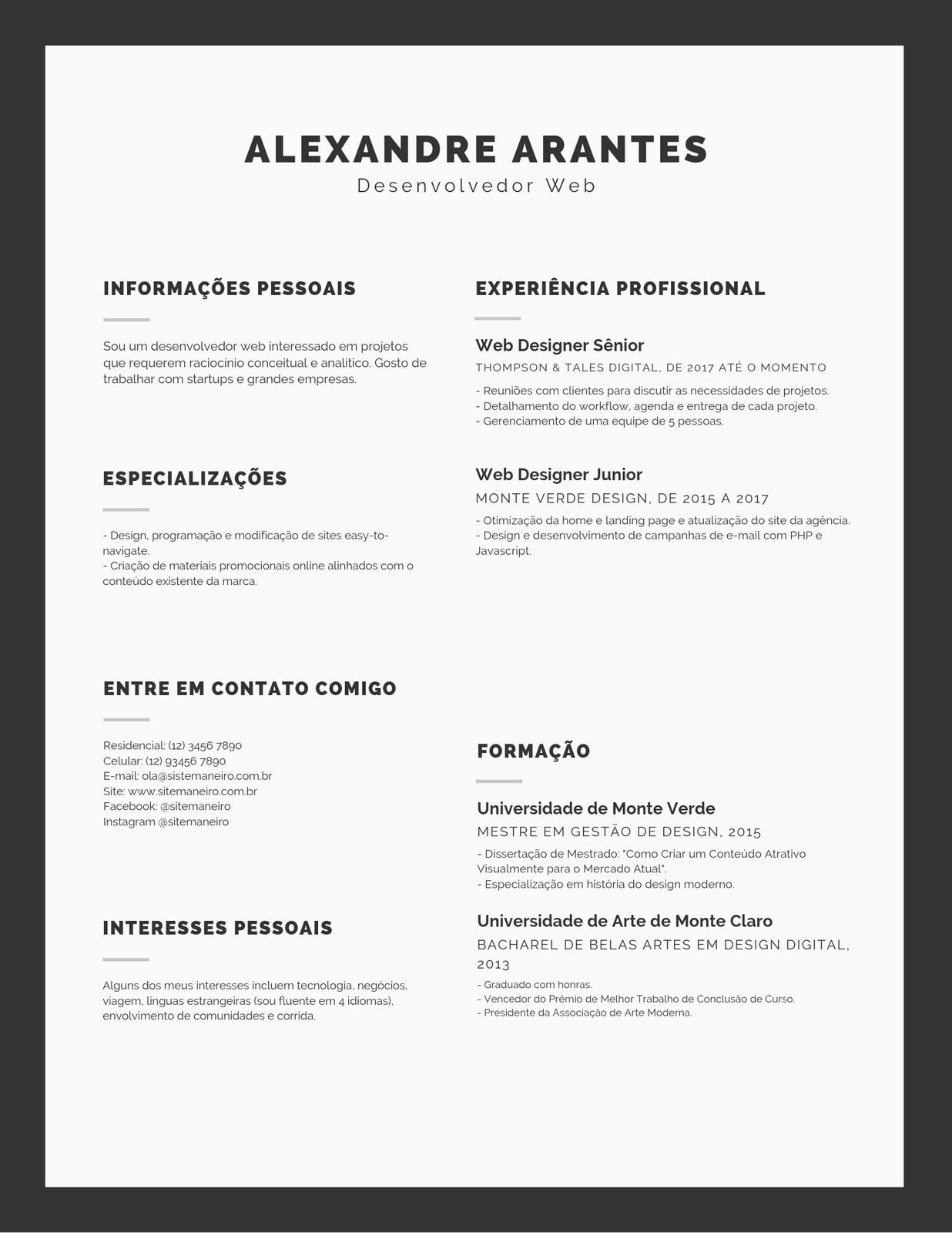 Simples Preto e Branco Caixa Infográfico Currículo