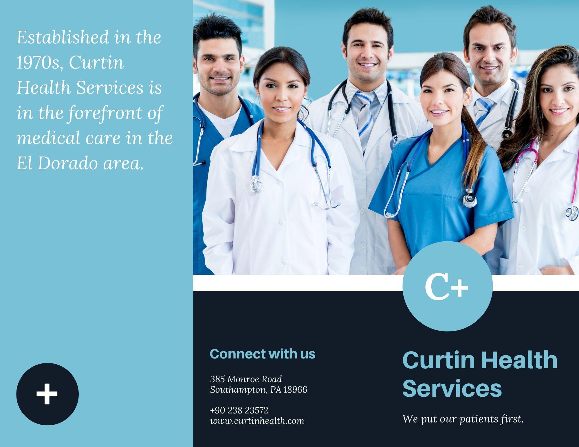 Brochure pieghevoli in tre parti sui servizi medici