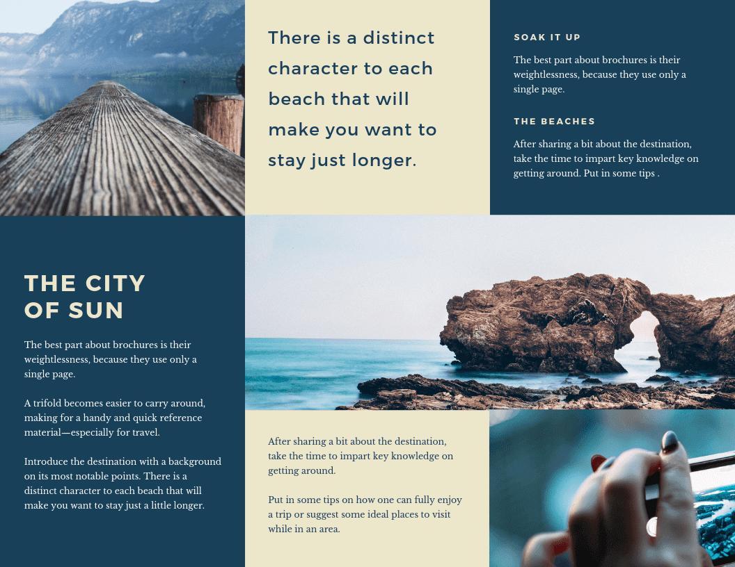 Brochure pieghevoli in tre parti sui viaggi