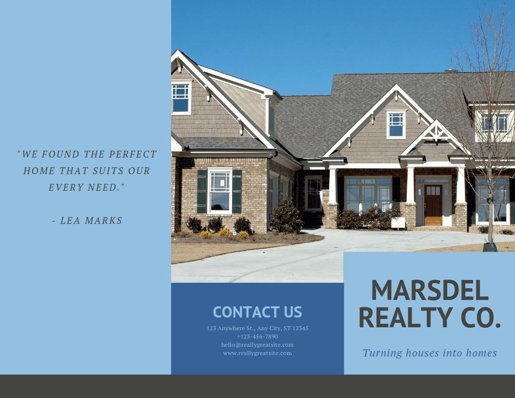 Brochure pieghevoli in tre parti sui servizi immobiliari