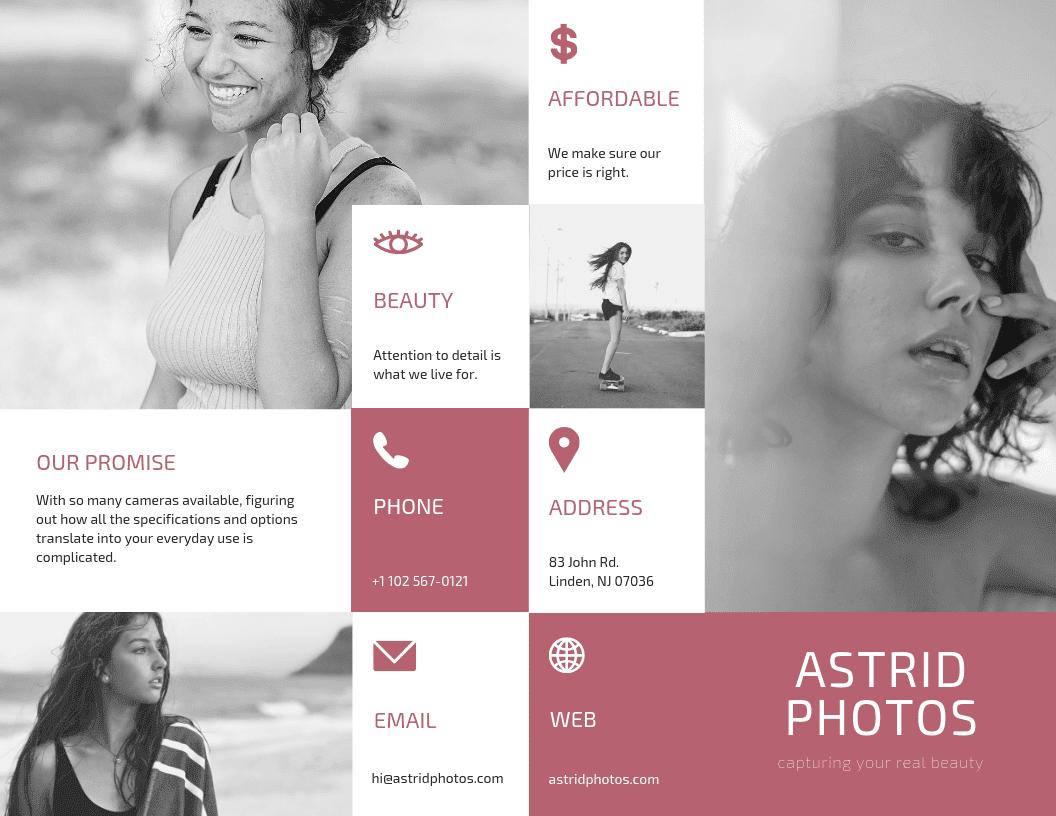 Brochure pieghevoli in tre parti sulla fotografia