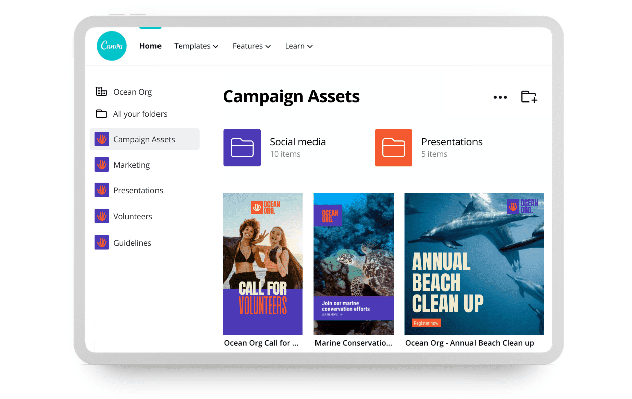 Canva Teams - Organise your assets in Folders