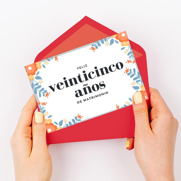 Aniversario - Orange Flowers 25th Wedding Anniversary Card