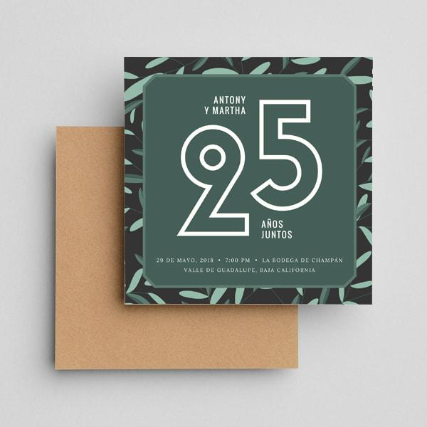 Aniversario - Illustrated Foliage Anniversary Invitation (2)