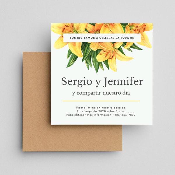 Boda- White Tropical Yellow Flower Vow Renewal Invitation (1)