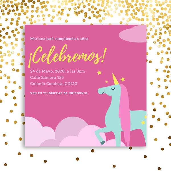 Unicornios - Pink Illustrated Unicorn Invitation