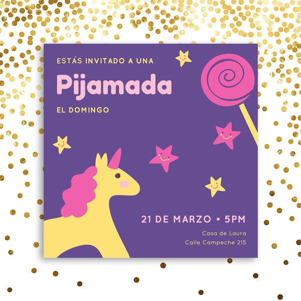 Unicornios - Yellow Pink Illustrated Unicorn Sleepover Invitation