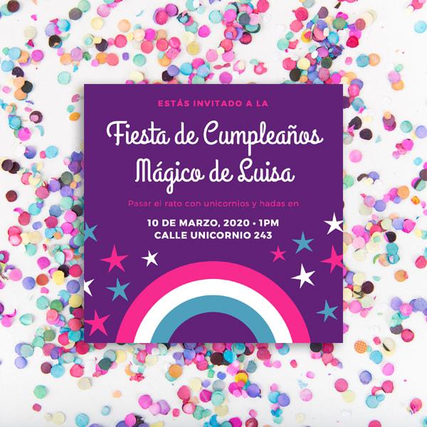 Unicornios - Colorful Rainbow Stars Unicorn Invitation