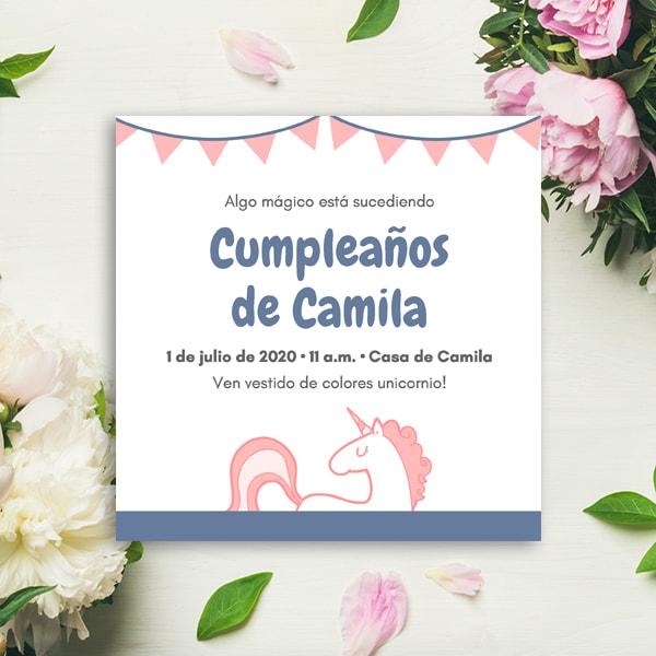 Unicornios - Pink and Blue Illustrated Bunting Unicorn Invitation