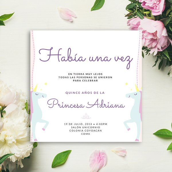Unicornios - Unicorn Quinceanera Party Invitation