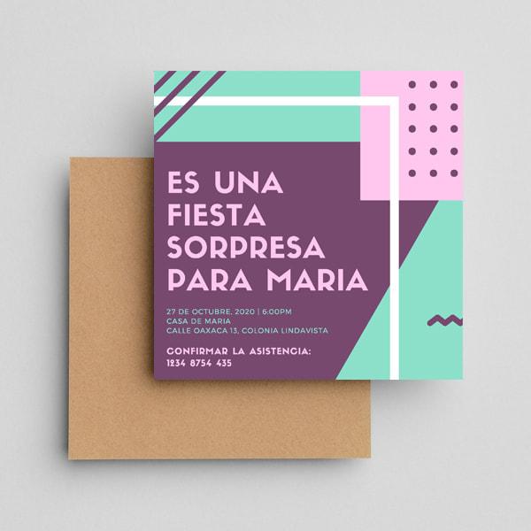 Fiesta Sorpresa - Colorful Geometric Surprise Party Invitation
