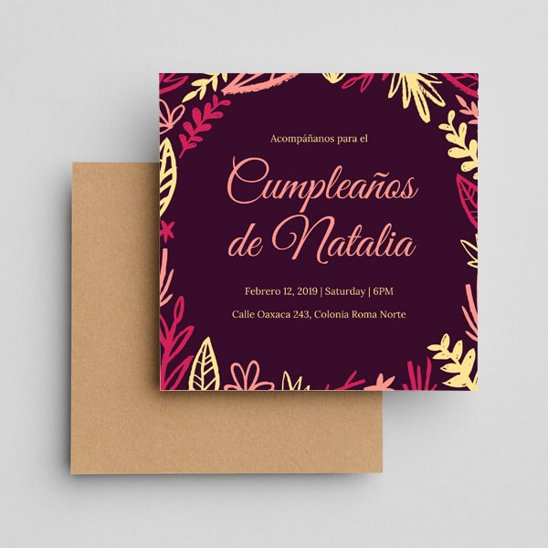 Fiesta Sorpresa - Violet Hand Drawn Plants Surprise Party Invitation