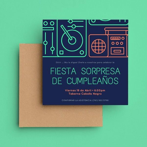 Fiesta Sorpresa - Fiesta Sorpresa - Neon Music Surprise Party Invitation (1)