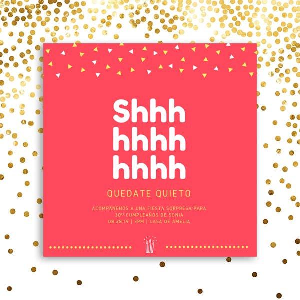 Fiesta Sorpresa - Red Confetti Surprise Birthday Party Invitation (2)