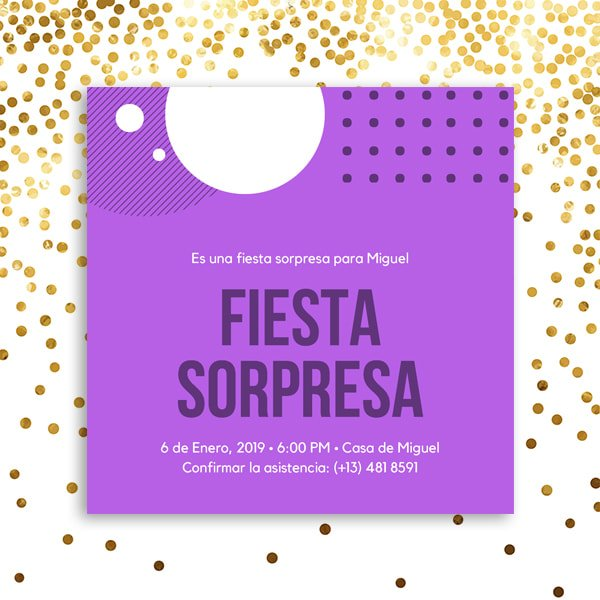 Fiesta Sorpresa - Bright Violet with White Circles Surprise Party Invitation